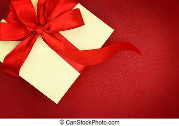 doosje, lint, achtergrond, rood, cadeau
