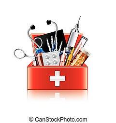 doosje, medisch, vrijstaand, uitrusting, vector, witte