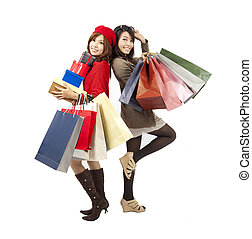 doosje, mode, shoppen , cadeau, meiden, zak, aziaat, vasthouden, vrolijke