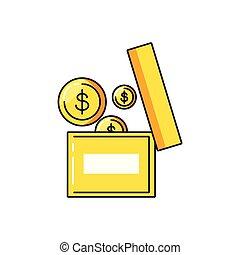 doosje, muntjes, dollar, kantoor