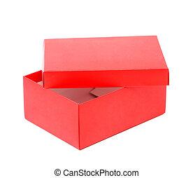 doosje, opend, vrijstaand, schoen, achtergrond, wit rood