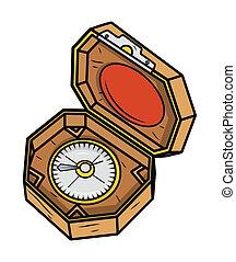 doosje, oud, zeerover, kompas