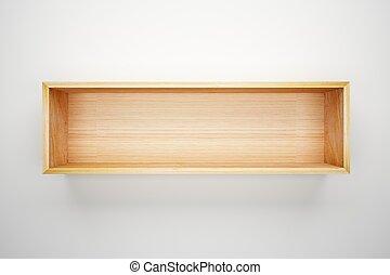 doosje, plank, witte muur