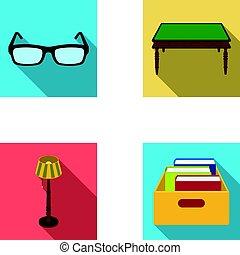 doosje, plat, stijl, set, vloer, houten, bril, symbool, lamp, web., bibliotheek, boekhandel, vector, illustratie, verzameling, iconen, books., tafel, liggen
