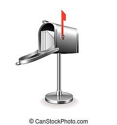 doosje, post, witte , vector, vrijstaand