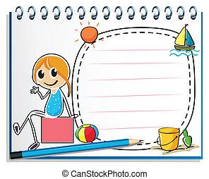doosje, potlood, zittende , beeld, illustratie, aantekenboekje, achtergrond, meisje, witte