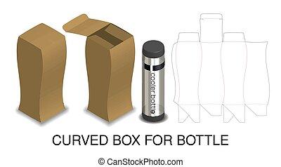 doosje, product, hard, verpakking, papier, fles, gebogen