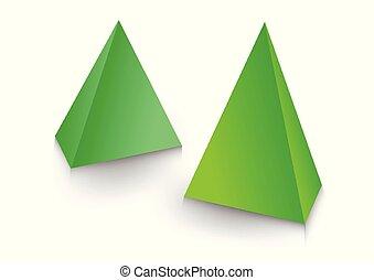doosje, product, piramide, verpakken, illustration., ontwerp, 3d
