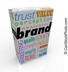 doosje, product, verpakken, het brandmerken, merk, woorden