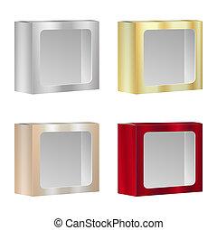 doosje, product, verpakken, set., vrijstaand, vector, venster., achtergrond, leeg, witte