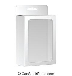 doosje, product, verpakken, vector, venster., leeg, witte