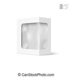 doosje, product, verpakken, vector, venster, witte