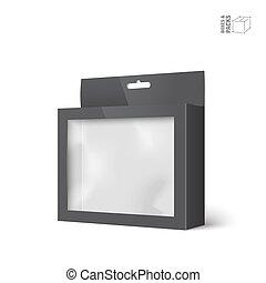 doosje, product, verpakken, venster, vector, black
