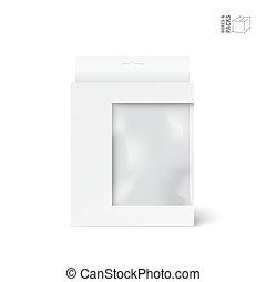 doosje, product, verpakken, venster, vector, witte