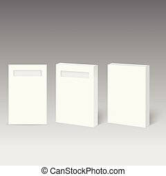 doosje, product, verpakken, venster., vector., witte