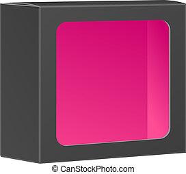 doosje, product, verpakken, vrijstaand, black , venster., achtergrond, leeg, vector, witte