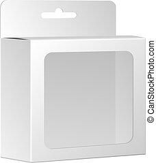 doosje, product, verpakken, vrijstaand, vector, venster., achtergrond, leeg, witte