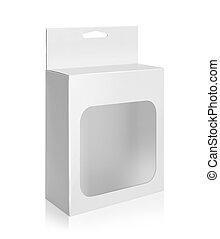 doosje, product, witte , venster, verpakken