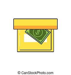 doosje, rekening, dollar, kantoor