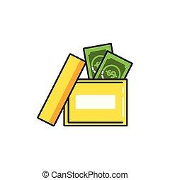 doosje, rekeningen, dollar, kantoor
