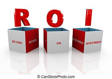 doosje, roi, terugkeren, -, investering, 3d