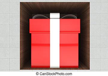 doosje, rood, cadeau, 3d