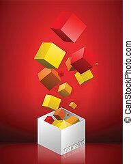 doosje, rood, vrolijk, achtergrond, kerstmis