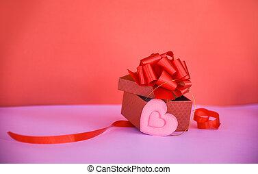 doosje, roze, cadeau, hart, /, boog, lint, open, kado, rood