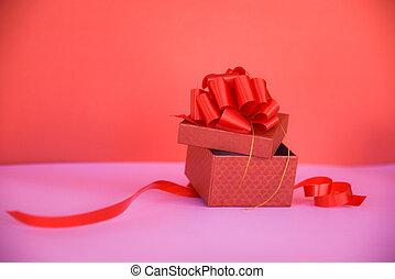 doosje, roze, cadeau, ruimte, /, boog, kado, kopie, open, lint, rood