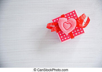 doosje, roze, cadeau, ruimte, bovenzijde, /, boog, hart, kado, rood, kopie, lint, aanzicht