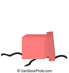 doosje, roze, geopend, cadeau, salmon, -