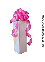 doosje, roze, geschenk buiging, wit lint