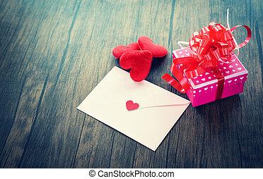 doosje, roze, liefde, romantische, cadeau, hart, valentines, enveloppe, valentine kaart, brief, post, dag, rood