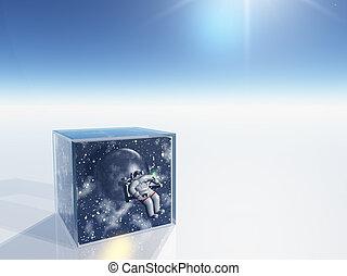 doosje, ruimte, duidelijk, scène, surrealistisch, ruimtevaarder, gevangengenemenene