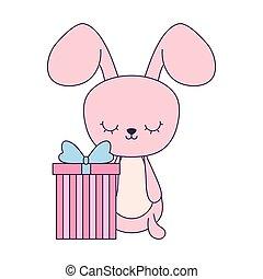 doosje, schattig, cadeau, konijn, dier