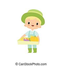 doosje, schattig, volle, groentes, jongen, karakter, jonge, laarzen, rubber, overalls, vector, illustratie, vasthouden, farmer, fris, hoedje, spotprent, oogst