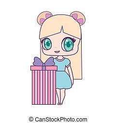 doosje, schattig, weinig; niet zo(veel), cadeau, pop