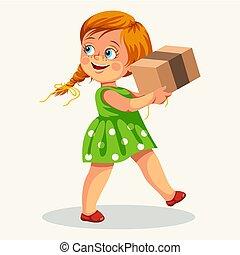 doosje, schattig, weinig; niet zo(veel), poster, verdragend, meisje, karton