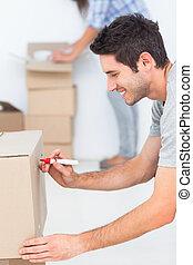 doosje, schrijvende , verhuisman, teken