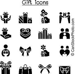 doosje, set, cadeau, cadeau, kado, pictogram