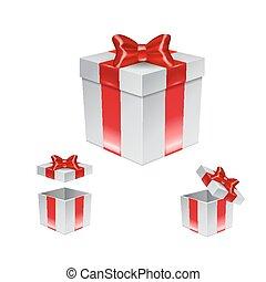 doosje, set, cadeau, vrijstaand, boog, wit rood