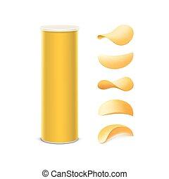 doosje, set, frites, gele, aardappel