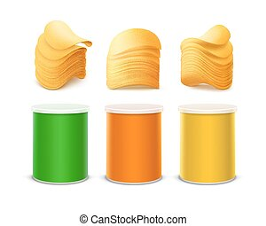 doosje, set, gekleurde, aardappel, kleine, frites, stapel
