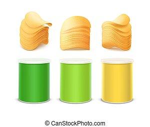 doosje, set, gekleurde, verpakken, ontwerp, frites