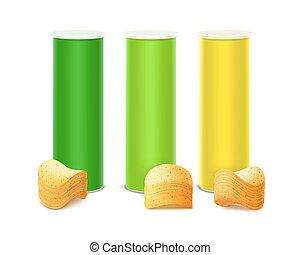 doosje, set, gekleurde, vrijstaand, frites, stapel