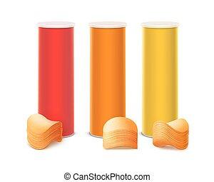 doosje, set, gele, sinaasappel, frites, stapel, rood