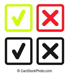 doosje,  Set, iconen, Of,  Mark, groene, lijn, controleren