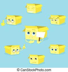 doosje, set, pose, karakter, gele, verzameling, karton, spotprent