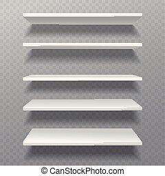 doosje, set, shelves., planken, muur, bibliotheque, plank, boekenkast, lege, leeg, boekenplank, witte , detailhandel, rek, winkel, meubel
