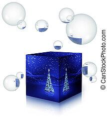 doosje, snowflakes, boom 3, bellen, kerstmis